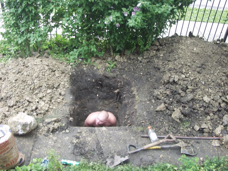 Louie standing in hole